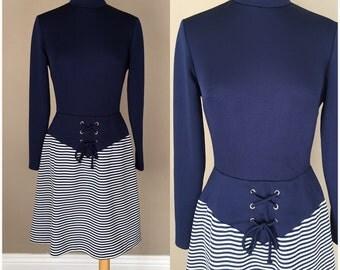 Vintage 60s 70s Navy Blue Stripe Dress Mod Hippie Halloween Costume