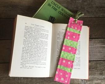 Quilt Block Bookmark, stripes pattern, vintage & new fabric