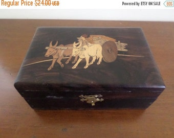 Save 25% Today Beautiful Vintage Wooden Treasure Keepsake Jewelry Box with Ox and Cart Excellent Condition