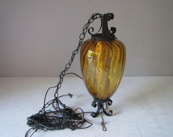 Vintage Hanging Pendant Light, Amber Glass Chandelier, Amber Globe Swag Light, 1960's/1970 Retro Lighting