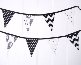 Black and White Bowtie Bear Nursery Bunting Flags