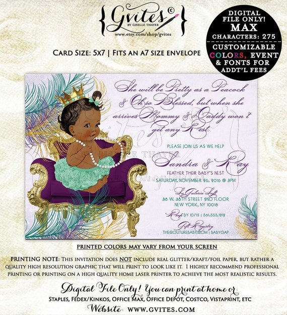 African American Baby Girl Baby shower invitation, ethnic peacock baby shower invitations, ethnic baby, purple lavender teal. {You Print}
