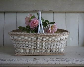 Large Vintage Shopping Basket - Retro Storage Basket