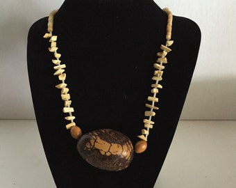"Vintage Large Centerpiece Tagua Nut Necklace Vegetable Boho Tribal 22"" Earthy Natural"
