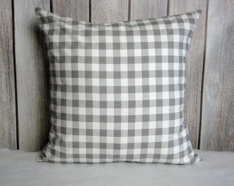 Grey Plaid Pillow. Plaid. Grey. Pillow Cover. Accent Pillow.