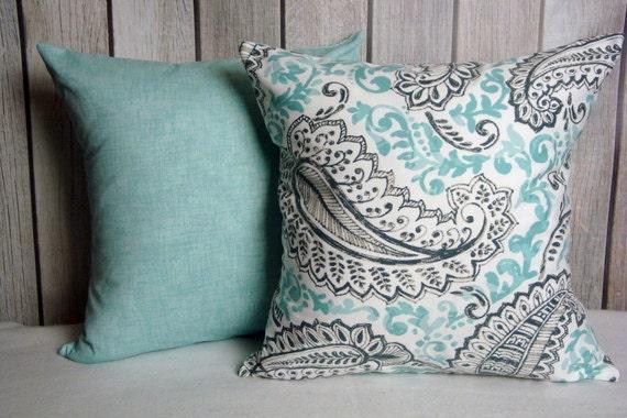 Feather Pillow. Aqua Blue Pillow. Pillow Cover