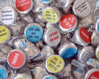 Star Trekkie  Party, Candy Stickers - Kiss, Candy Labels, Sci-fi Party, Party Favors, Printed