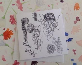 Jellyfish Love, Hand Drawn, FeFiFo, Illustration, Digitally Printed, Any Occasion, Valentines Card, Blank inside, Black & White