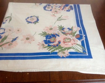 Vtg 50s Floral Tablecloth Linen Blue Strip Pink Green Blue Floral Bouquet White