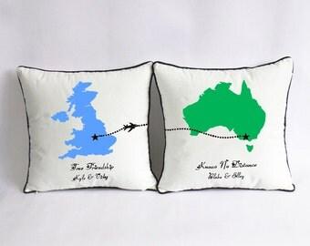 long distance relationship pillow case-friend custom gift-friend birthday present-BFF long distance pillow-true friendship knows no distance
