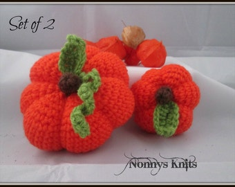 Set Of Two Decorative Pumpkin Photo Props