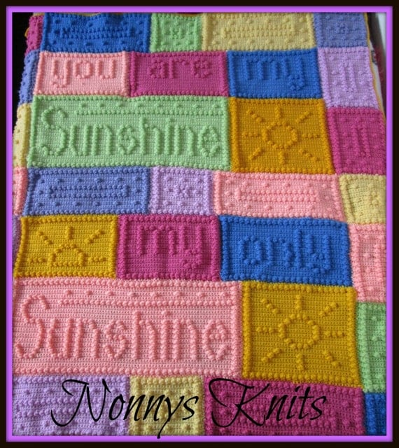 Free Crochet Pattern For You Are My Sunshine Blanket : You are my Sunshine Afghan/Blanket Custom Orders Only