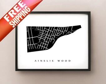 Ainslie Wood Map - Hamilton Neighbourhood Art Print