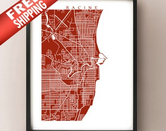 Racine, WI Map Print - Wisconsin Poster