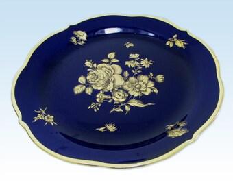 Echt Cobalt Blue and Gold Rose Dessert Plate by Lindner, Floral Bouquet Flowers Kueps Bavaria Germany