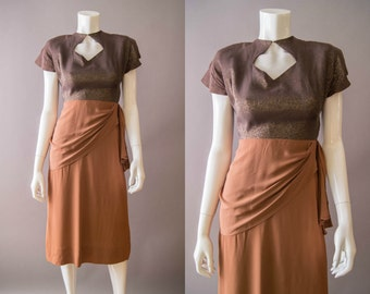 vintage 1940s dress / 40s bronze rayon dress / extra small / Halcyon Dress