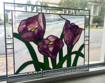 Stained Glass Flowering Crocus Sun Catcher Panel - Immediate Shipping