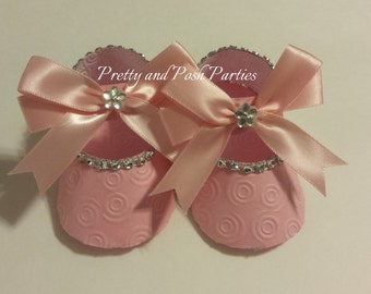10 Adorable Pink Embossed Rhinestone Paper Shoe Favor Boxes