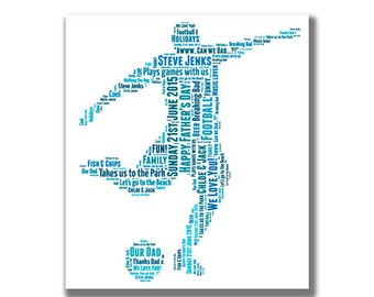 Football / Soccer player  - personalised word art - digital image