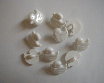 10 white duck buttons