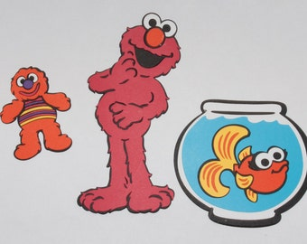 Elmo with his toy David and his fish Dorothyl Die Cut - Sesame Street