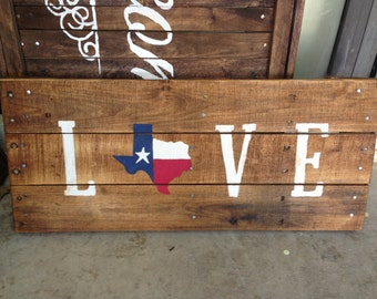 Texas Flag Love Pallet Sign Texas Decor Gift For Home Gift For Him