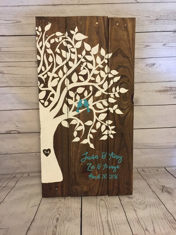 Wooden Recycled Pallet Family Tree Sign Wedding Anniversary