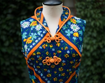 Vintage Asian Inspired Dress by Kay Windsor / Orange and Blue Flower Mod Dress / Made in USA / Long Floral Japanese Geisha Dress