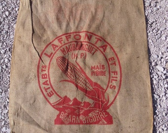 French grain sack Large vintage hessian grain sack printed red red maize motif
