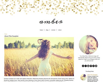 Blogger Template - Black and Gold Blog Template - Mobile Responsive