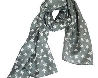 Summer scarf for children, stars print, on grey. Kids scarf, girls scarves