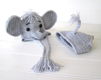 CUSTOM MADE Crochet Silver Gray Elephant Hat and Diaper Cover Set