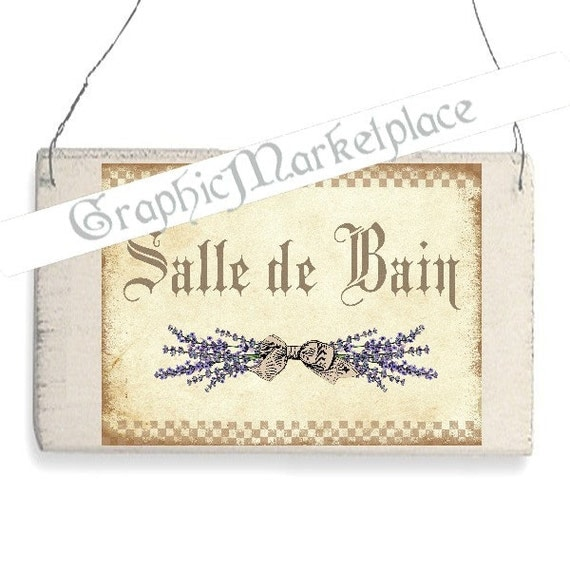 Salle de bain bathroom door hanger lavender lavande sign for Salle de bain door sign