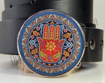 Blue Red Hamsa Belt Buckle Hand of Fatima Hand of Mary Protection Good Luck Ward Off Evil Eye Womens Belt Buckle Gift for Her Birthday Gift