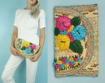 70s Floral Straw Clutch Purse, Colorful Summer Wicker Woven Handbag