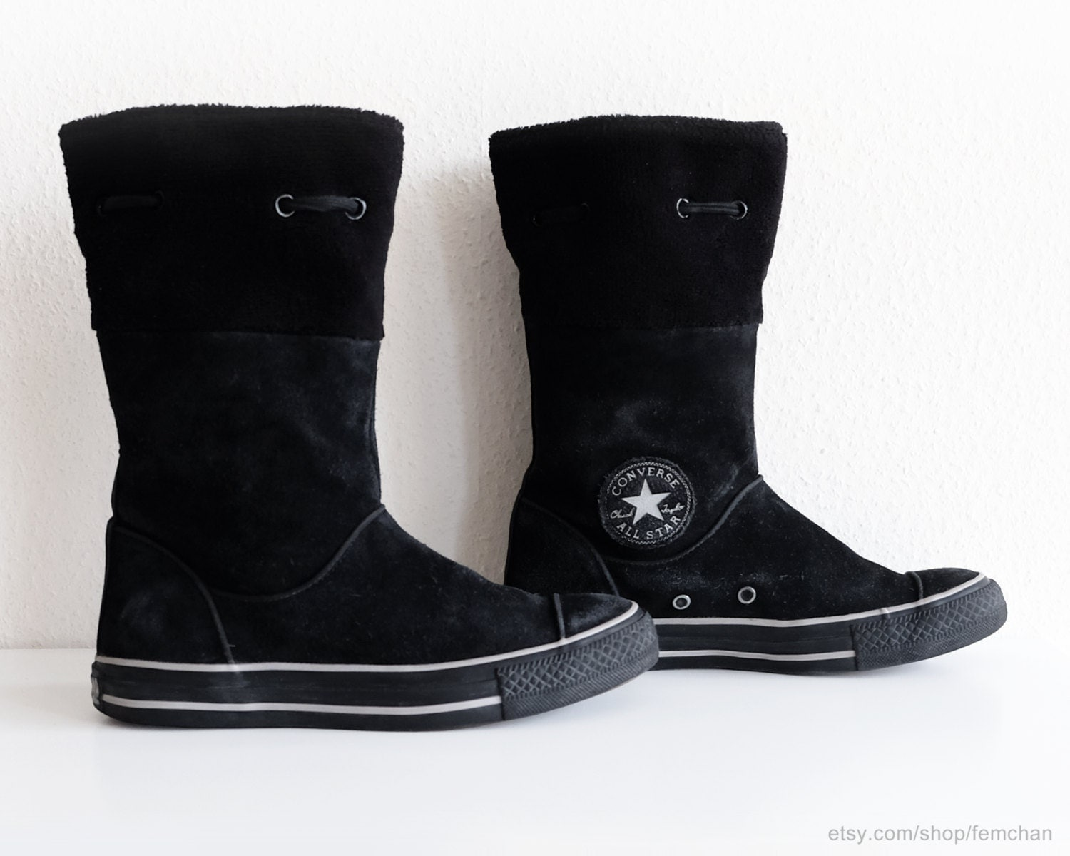 black suede converse boots with soft fleece cuffs calf high