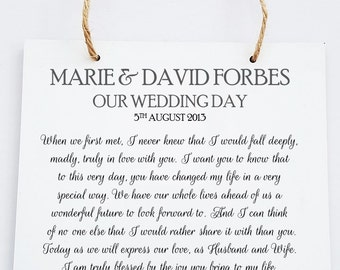 Personalised Our Wedding Day Poem Hanging Plaque