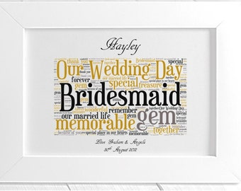 Personalised Bridesmaid Wedding Thank You Framed Word Art