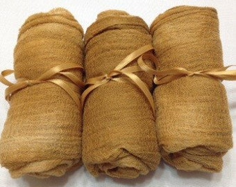 2yds, Cotton Cheese Cloth, Gauze, Felting, fabric Gauze, Hand Dyed, Photo Prop, Caramel