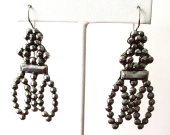 Pair of Victorian Cut-Steel Earrings With New Sterling Silver Ear Wires