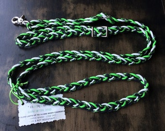 "Adjustable Paracord Reins / Dog Leash - ""Electric Shock"" - Lime Green/Black/Glow - 8.5 feet long"