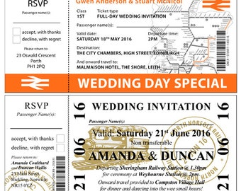 Travel Ticket Invitations