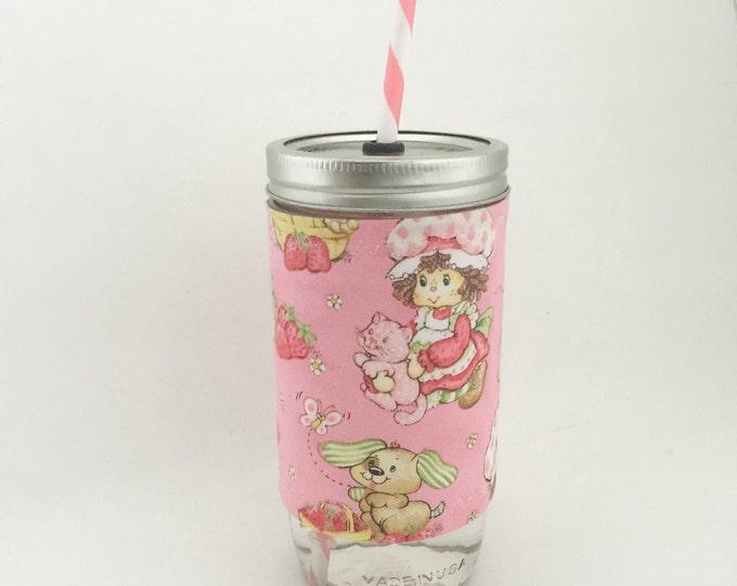 Strawberry Shortcake Mason Jar Tumbler 24oz with Insulated Mason Jar Cozy BPA Free Straw