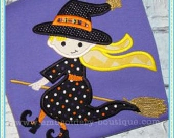 Personalized Halloween Witch on Broom Stick Applique Shirt or Onesie for Boy or Girl