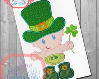 Personalized 1st St Patrick's Day Baby Shamrock Applique Shirt or Onesie Girl or Boy