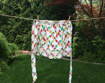 Old Fashioned Cotton Half Apron With Red, Green, Yellow Peppers