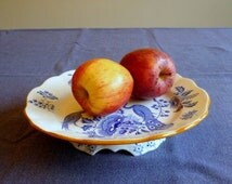 Antique dinnerware, 2 pedestal cake plates, blue and white piedouche plates, Boch Frères Keramis Paon, BFK dinnerware service