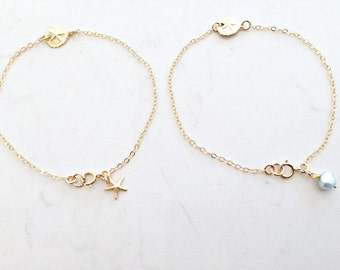 14kt gold filled Sand dollar bracelet Starfish Blue Pearl Girls Bracelet Teen Jewelry Beach Jewelry Gold Bracelet Beach Wedding Gift anklet