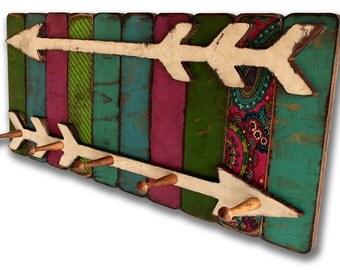 Wood Coat Rack Coat Hook - Boho Gypsy Arrow Handmade Wooden Shabby Cottage Chic Coat Rack, Bohemian Furniture, Bathroom Towel Bar