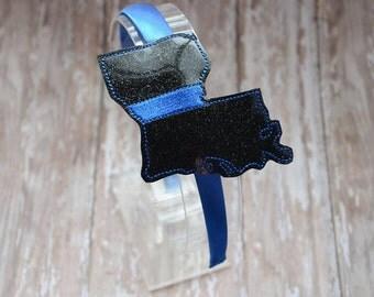 Louisiana Thin Blue Line - State -  Headband Slip On  - DIGITAL EMBROIDERY DESIGN